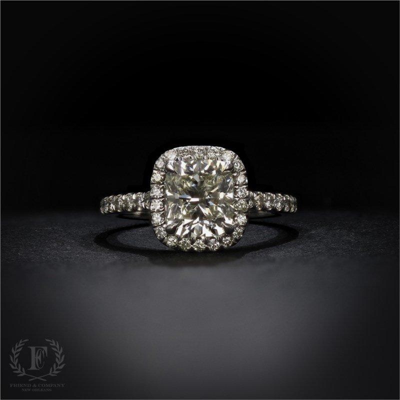 2 13 Carat Cushion Cut Diamond Engagement Ring