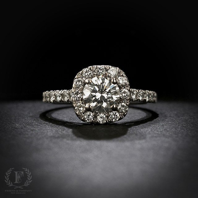 2b5102f92 ROUND BRILLIANT DIAMOND ENGAGEMENT RING WITH HALO | Friend and ...