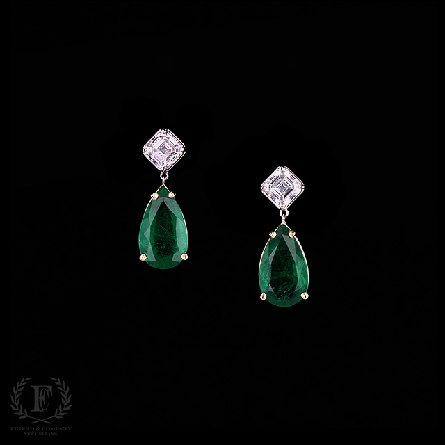 Pear Cut Emerald Earrings With Cher Diamonds
