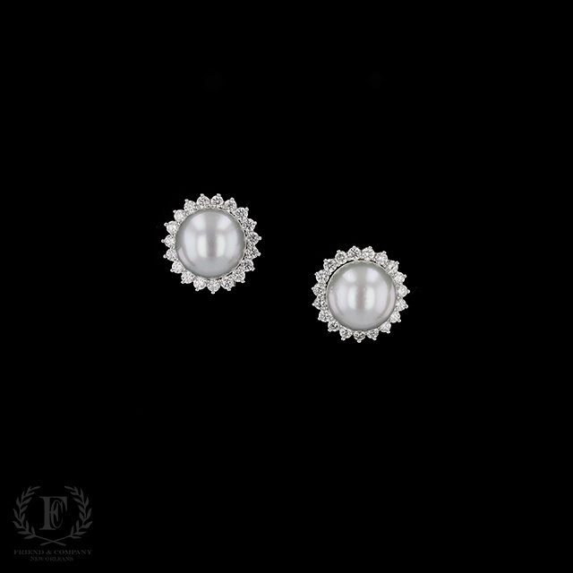 Mabe Pearl Earrings With Diamond Halo
