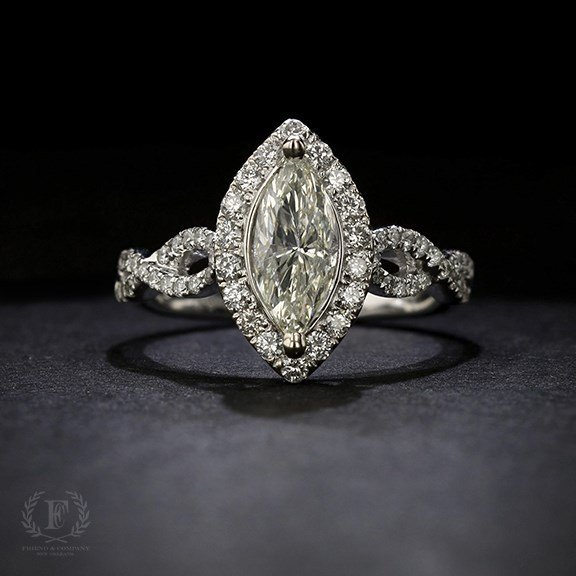 Marquise Diamond Engagement Ring With Halo Friend And Company Fine Jewelers